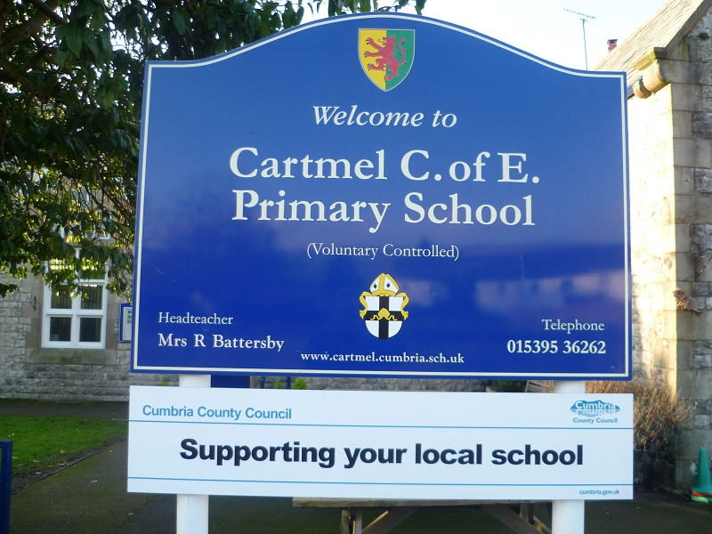 Cartmel Primary School sign